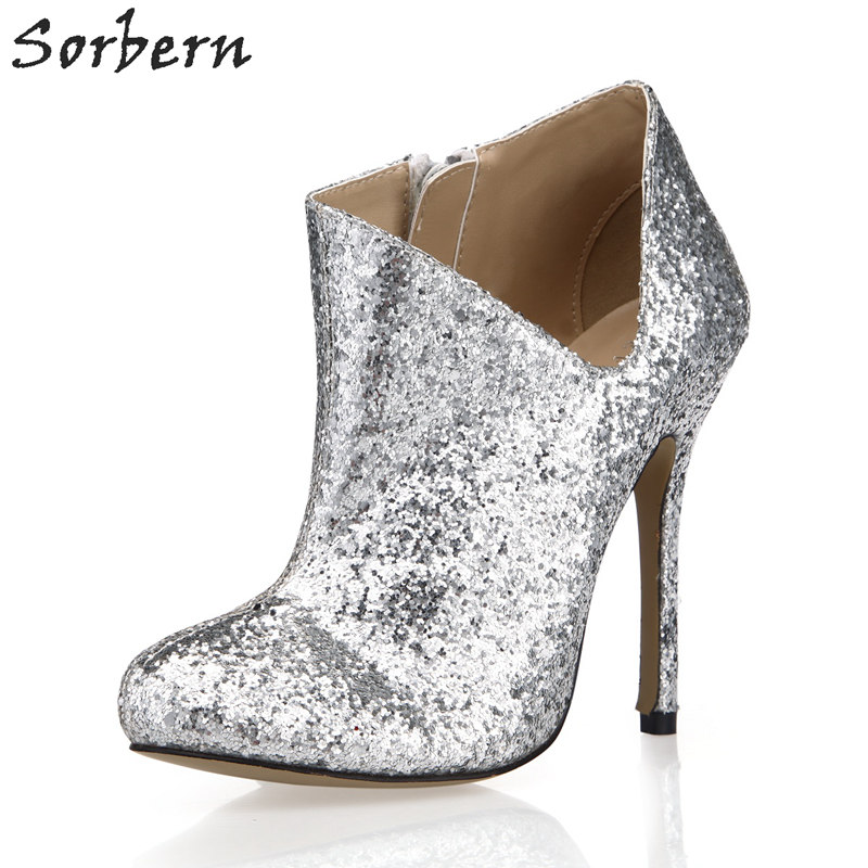 Sorbern Silver Sequins Boots Ladies Thin Heel 12Cm High Heels Cut Side Evening Party Boots Footwear Women'S Shoes Custom Colors top brand unique design black suede boots back front lace up fastening dress boots trendy ladies footwear thin high heel shoes