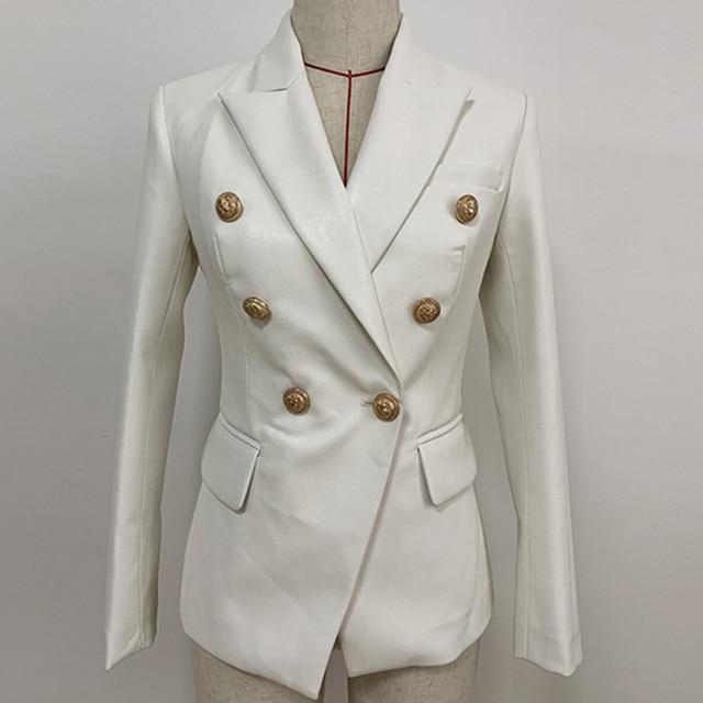 Nouvelle collection automne hiver 2020 veste Blazer femme boutons métal Lion Double boutonnage cuir synthétique Blazer pardessus
