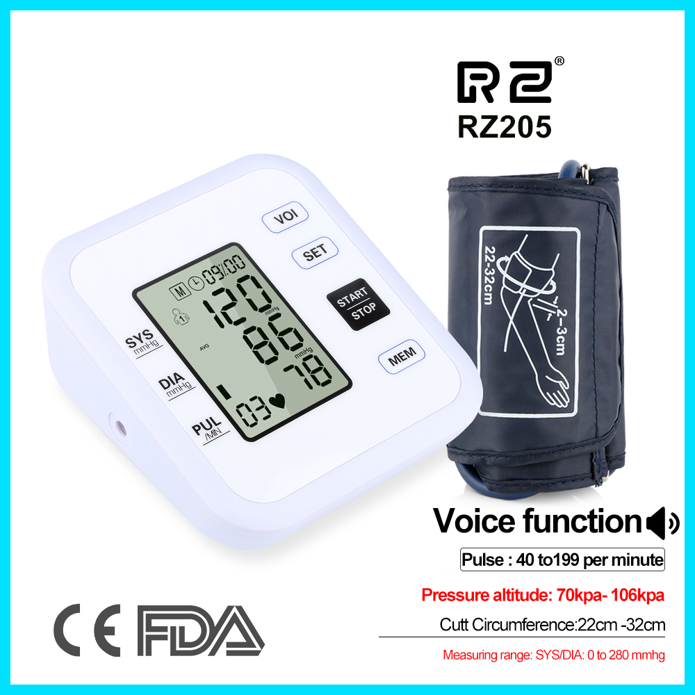 Health Care Arm Blood Pressure Monitor Heart Beat Rate Pulse Meter Tonometer Sphygmomanometers Pulsometer RZ205
