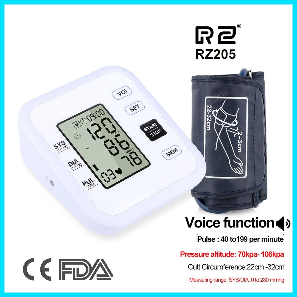 Puente de atención de la salud Monitor de presión arterial Digital superior completamente automática electrónica pulso brazo estilo RZ205