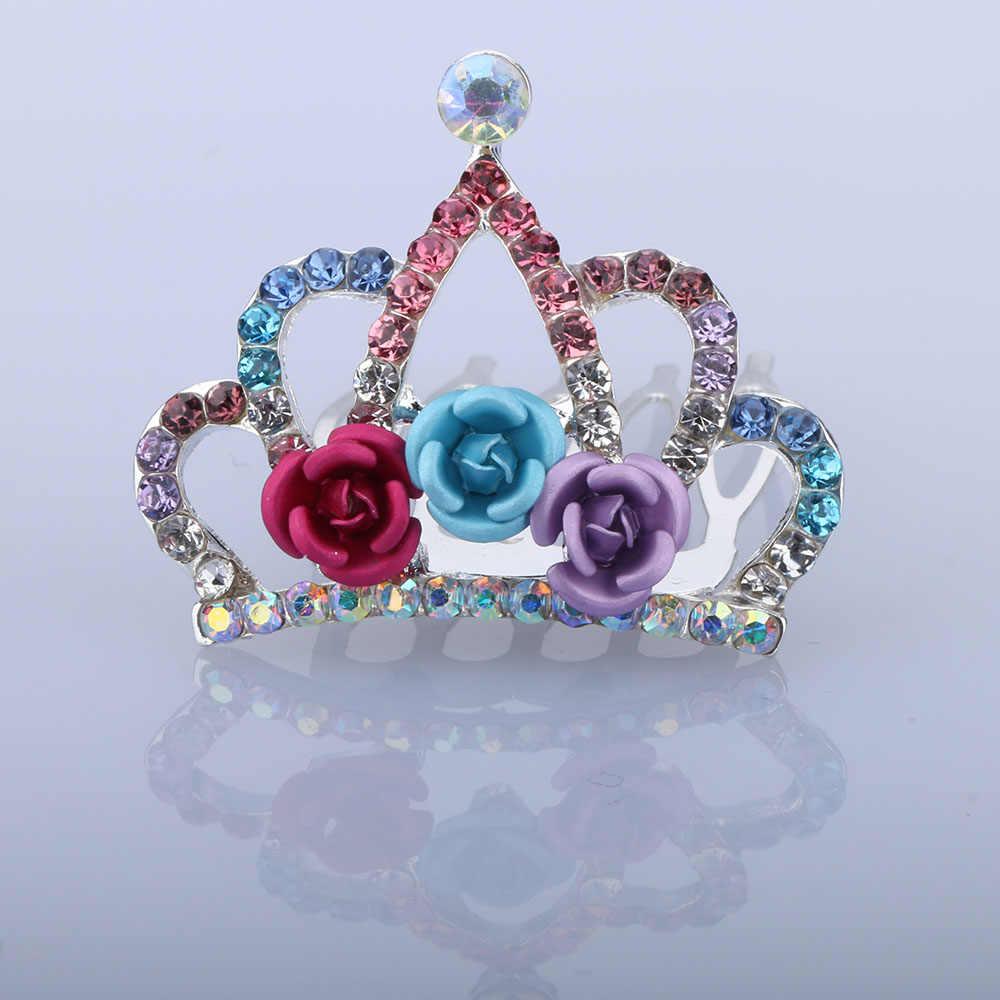 Tiaras Rose Flower Pha Lê Rhinestone Công Chúa Vương Miện Tóc Lược Trẻ Em Trẻ Em Cô Gái Nhỏ Tóc Đồ Trang Sức Cưới các Phụ Kiện Bên