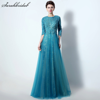Elegant Cut Back Mother Of Bride Dresses Lace Appliques A line Evening Dress Real Picture Vestido De Festa LSX016