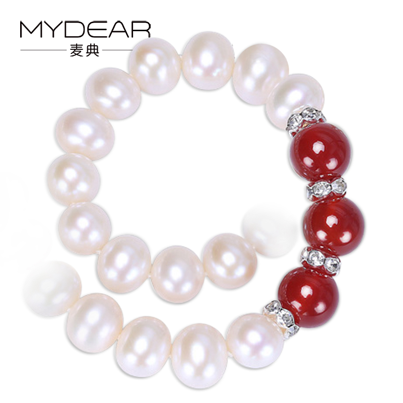 MYDEAR Pearl Jewelry Culture Pearl Beads Necklace Popular White 8-9mm Freshwater Pearl Necklace,17.7 inch Women Choker Necklaces недорого