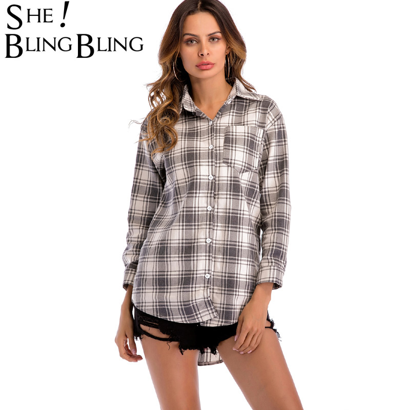 SheBlingBling Plaid Shirts Spring Women Fashion Curved Hem Blouse Three Quarter Sleeve Pocket Detail Long Shirts Casual Top
