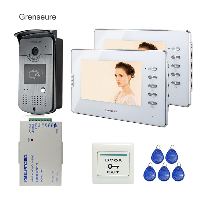FREE SHIPPING 7 Color Video Intercom Door Phone Kit + 2 Screen + Outdoor RFID Access Bell Camera Power Supply Control In Stock jeruan home 7 video door phone intercom system kit rfid waterproof touch key password keypad camera remote control in stock