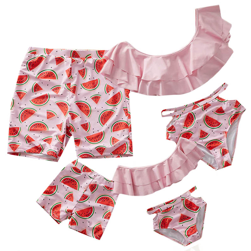 Mom And Daughter Swimsuits Ruffle Mommy And Me Clothes Set Print Family Look Mother Daughter Bikini Father Son Bathing Suit
