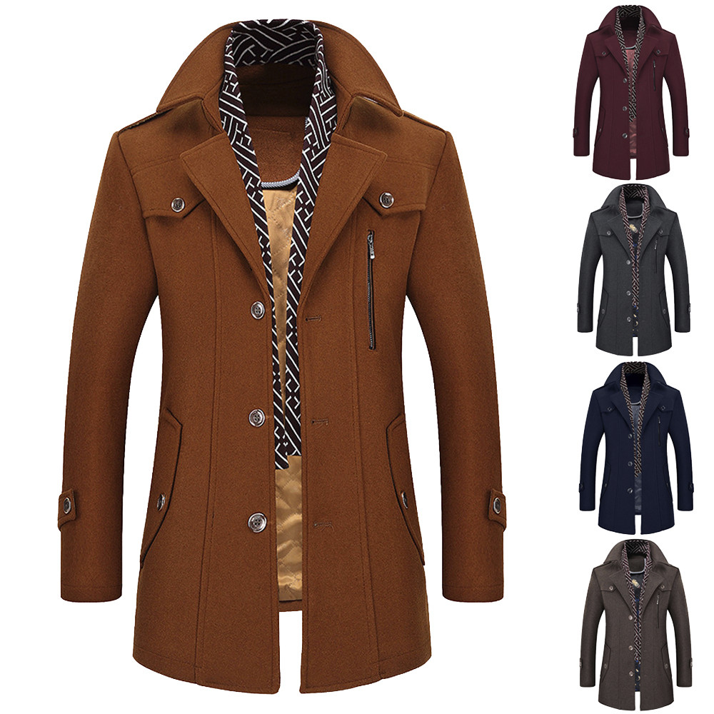 2018 Hot warm autumn and winter Men's Casual Wool   Trench   Coat Fashion Business Long Thicken Slim Single-breasted Overcoat