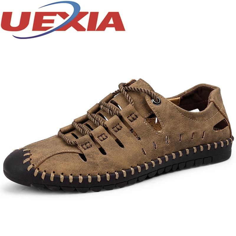 New Summer Shoes Men Sandals Breathable Soft Pu Leather Beach Sandal Casual Men Shoes Plus Size 46 Soft Fashion Flat Sandalias