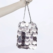 Fashion Luxury Designer Women Bags Metal Sequins Chain Woven Bag Evening Bags Clutch Female Travel Holiday Shoulder Bag Handbag