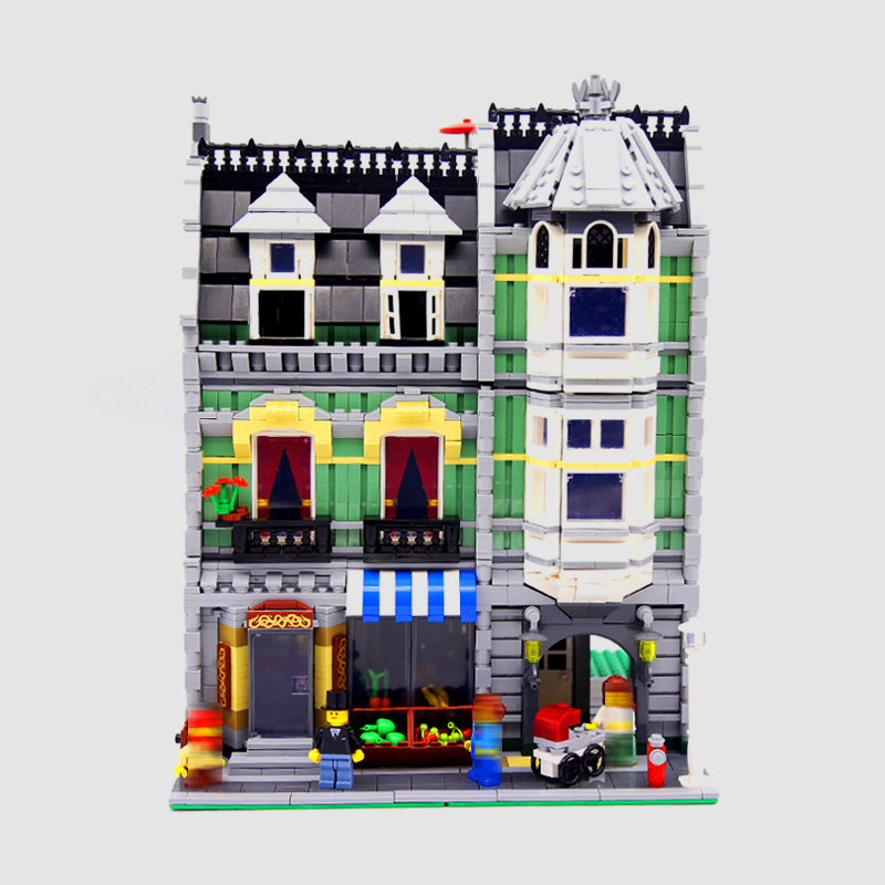 LEPIN 15008 Streetview Series 2462pcs City Street Green Grocer Building Block Bricks set Toys For children Legoing 10185 Gift 2017 enlighten city series garbage truck car building block sets bricks toys gift for children compatible with lepin