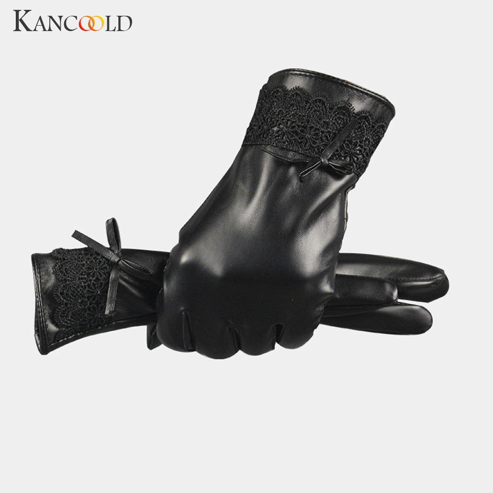 KANCOOLD Gloves Fashion Women Black Leather Gloves Autumn Winter Warm Lace Mittens High Quality Leather Gloves Women 2018NOV29