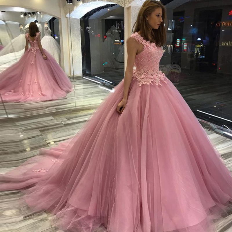 Princess Ball Gown Pink Prom Dresses Sleeveless Appliques Beaded Pink Vestido De Fiesta De Graduacion Women Formal Party Dress