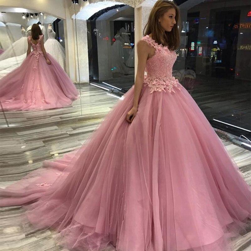 Princess Ball Gown Pink   Prom     Dresses   Sleeveless Appliques Beaded Pink Vestido De Fiesta De Graduacion Women Formal Party   Dress