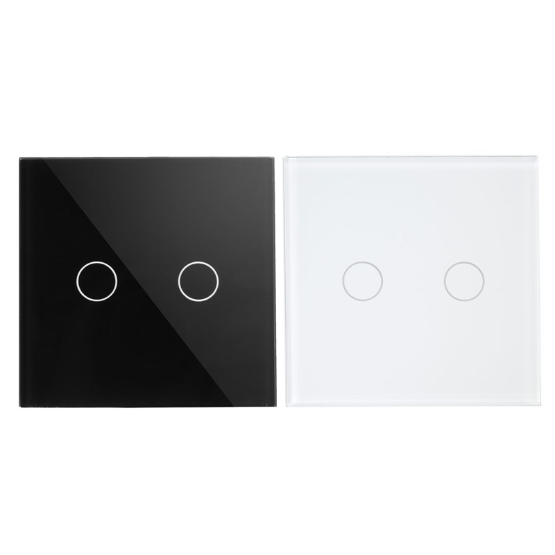 2 Way 2 Gang Wall Switch, Black Pearl Crystal Glass Panel, Home Touch Screen Wall Light UK Switch smart home us black 1 gang touch switch screen wireless remote control wall light touch switch control with crystal glass panel