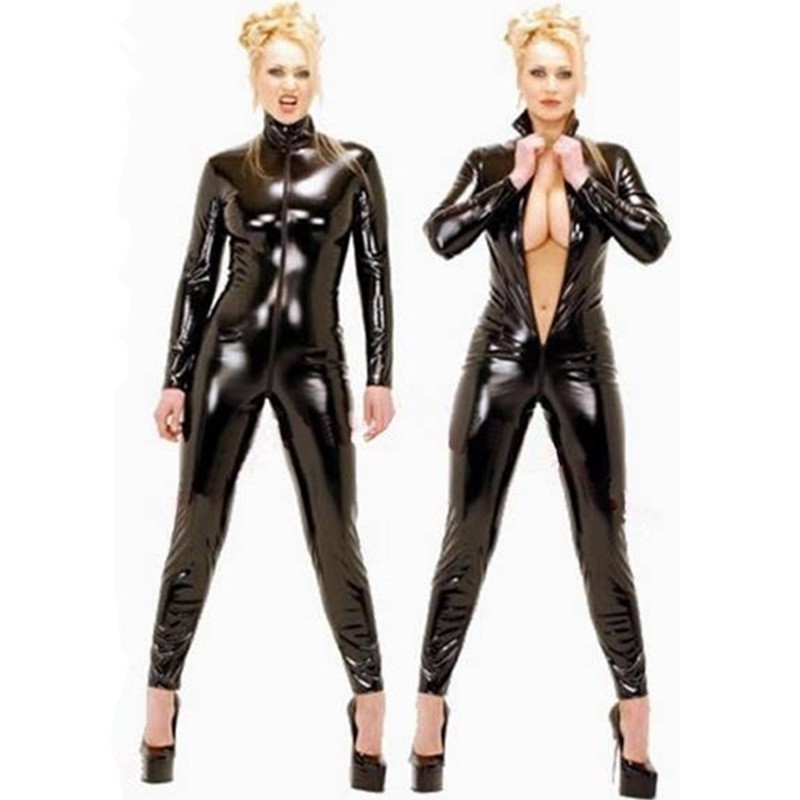 Plus Size S-XXL Women Unisex Sexy Latex Catsuit Black Wetlook Full Bodysuit PVC Jumpsuit Clubwear Faux Leather Costume