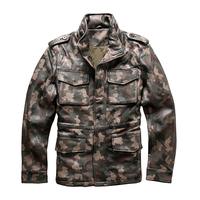 Прочитайте описание! Азиатский размер армия камуфляж пальто Натуральная овечья кожа M65 Верхняя одежда Мужская кожа овцы rider jacket 2133