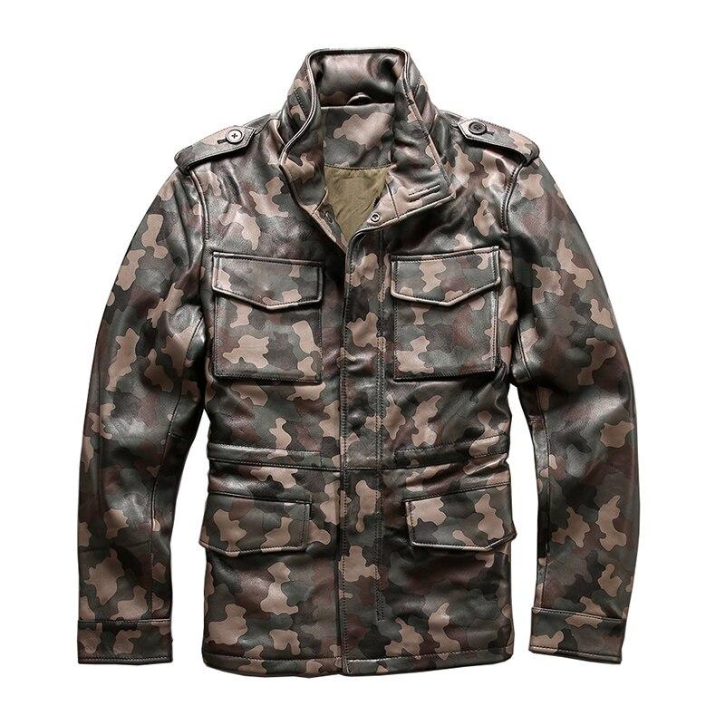 ¡Lea la descripción! Tamaño asiático del ejército camuflaje abrigo ovejas cuero genuino M65 abrigo para hombre ovejas chaqueta de cuero de motorista 2133