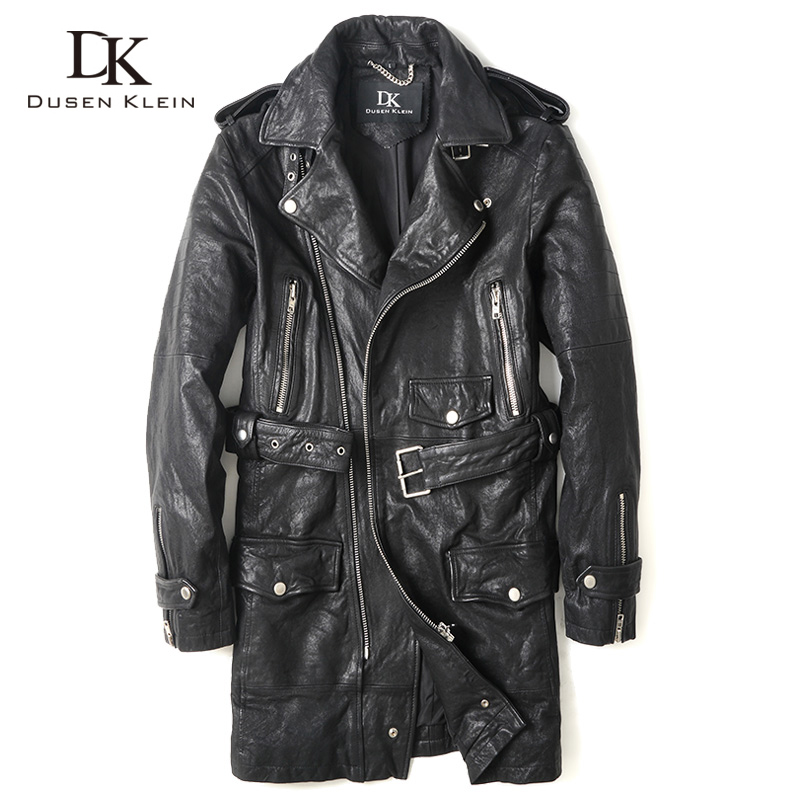 2016 New Long leather font b jacket b font male nature Vegetable tanned goatskin autumn coats