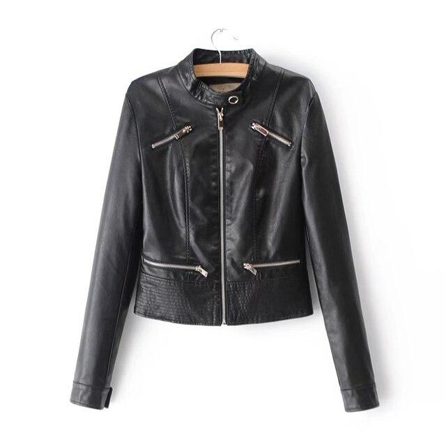 SOFIBERY Spring Autumn New HOT Leather Jacket Fashion Women Slim Long Sleeve Short Motorcycle Biker Jacket Coat FXL32 1
