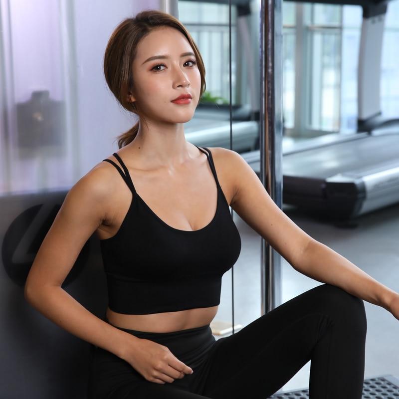 Women Cross Back Running Sport Push Up T Shirt Fitness Top