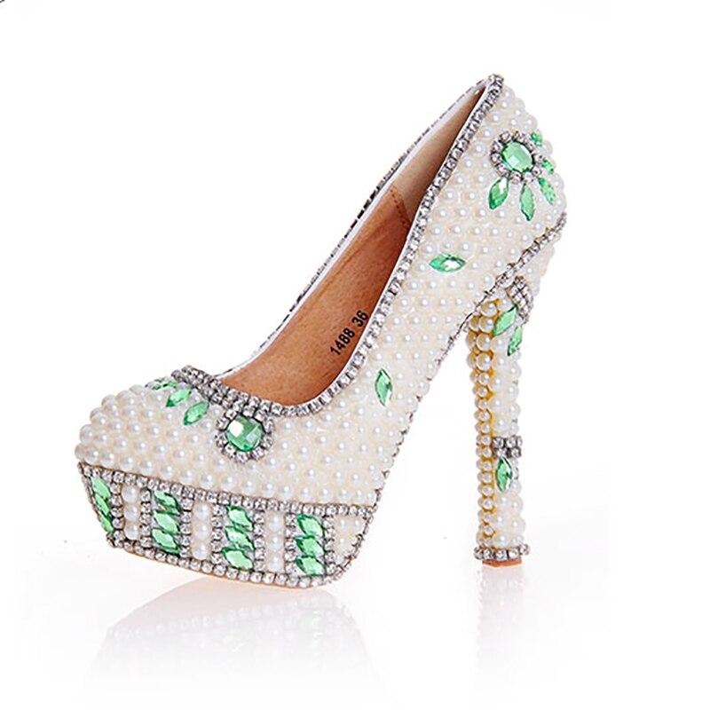 Cristal Chaussures Plate Hauts Sexy Parti Femmes 14cm Strass Talons Heel Décor Mariage forme Vert Pompes De Bout Rond Beige Mariée Perle rPwXvrUB