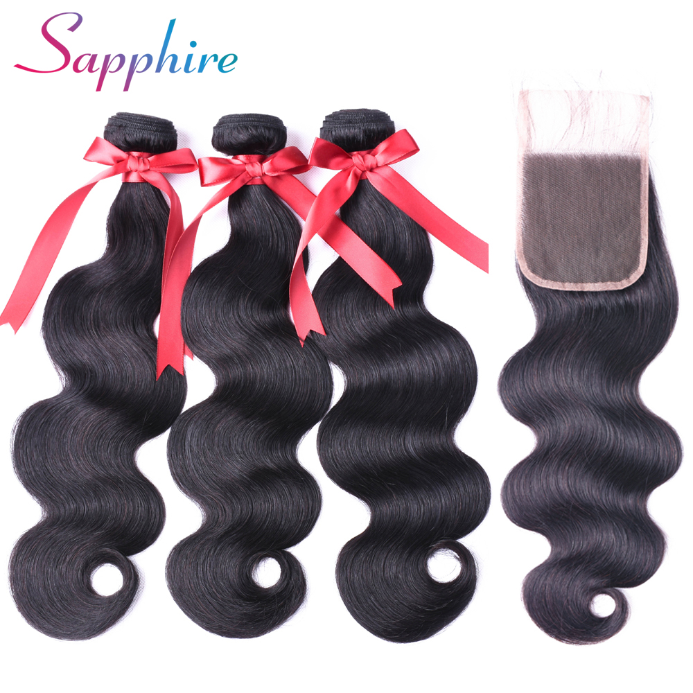 Sapphire Hair Products Brazilian Body Wave Lace Closure Non Remy Weft Hair Weave 3 Bundles Human Hair Bundles With Closure