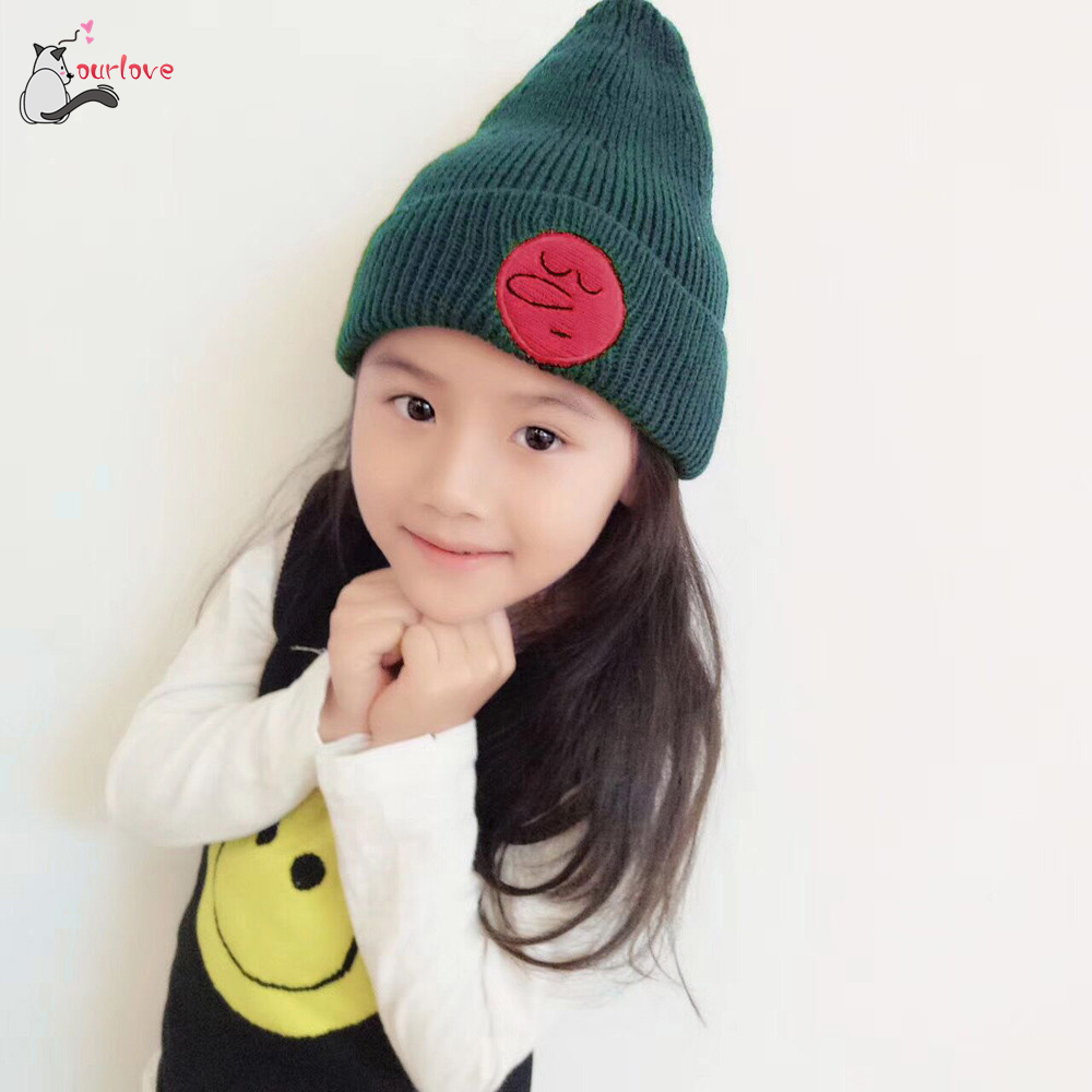 Autumn winter Baby Cap soft Fashion Baby Knit Hat Kids Girls Boys Winter Keep Warm Wool Emoji Beanie Hat Drop Shipping