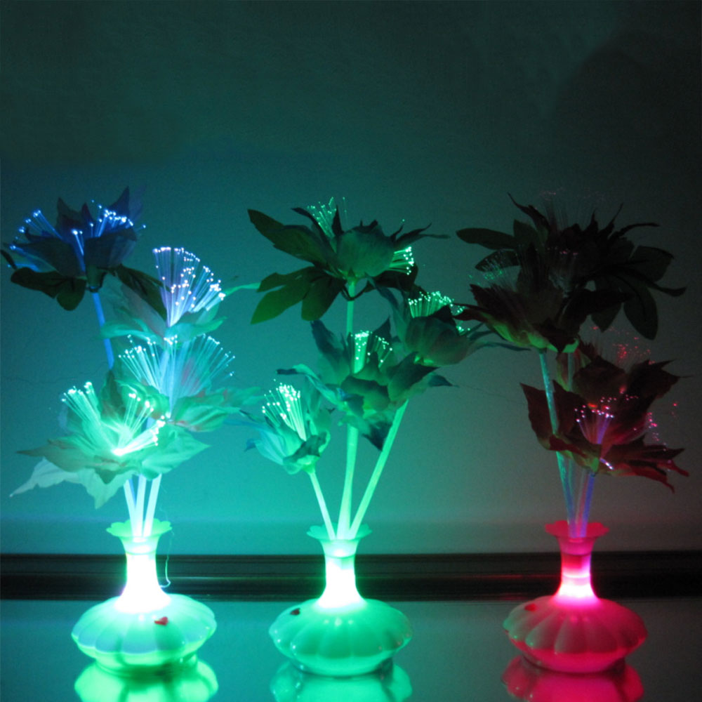 3-LED Fiber Optic Flower Night Light Valentines Day New Year Bedroom Indoor Decoration Creative Drop Shipping ...