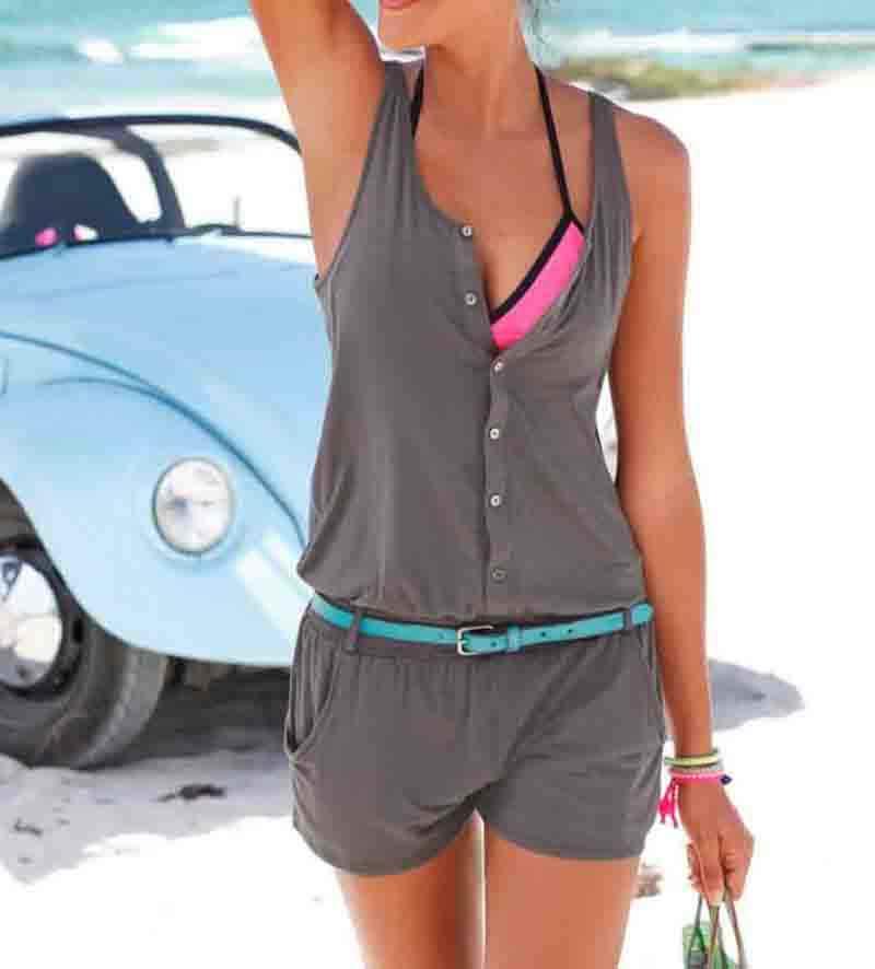 Сексуальный комбинезон без рукавов женский короткий комбинезон 2019 летние женские модные шорты черный пляжный комбинезон Комбинезоны сексуальные женские платья