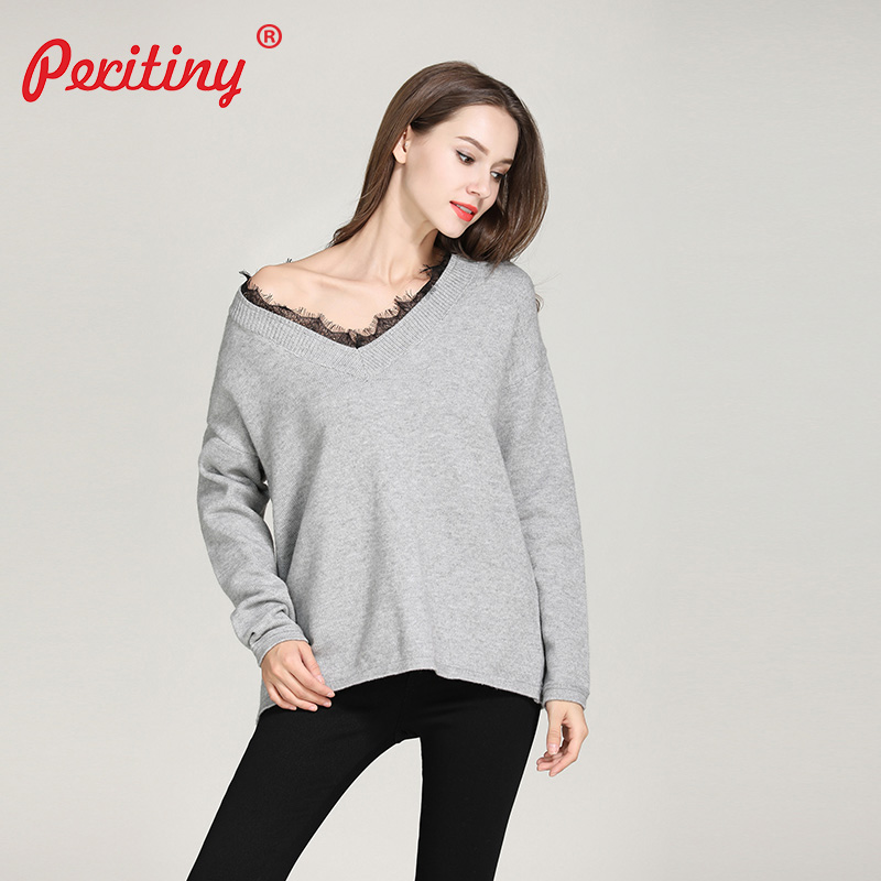 Peritiny Korean Fashion Swater Female Knitted Angora Jumper Sexy V-Neck  Maglioni Donna Clothes Women Autumn Sweater with Lace  7f0177080d61