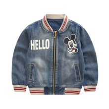 New 2019 Autumn Spring Mickey Baby Girls Denim Outerwear Coat For Boys Children Washed Cowboy Jackets 1 2 3 4 5Years