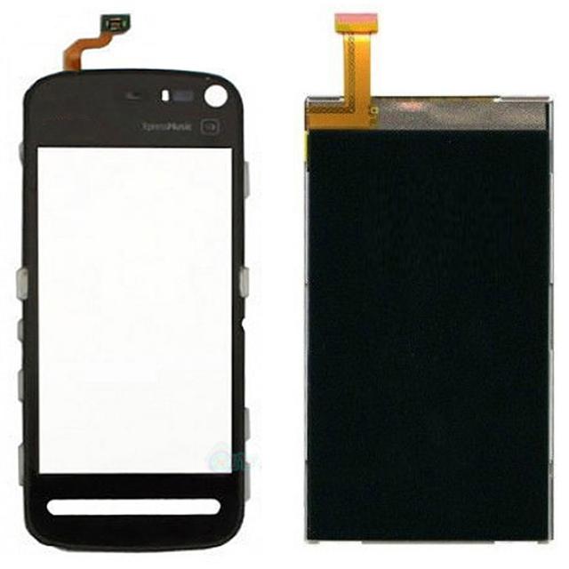 Negro exterior sensor de pantalla táctil de cristal digitalizador + lcd de pantalla para nokia 5800 xpress music teléfono inteligente reemplazo