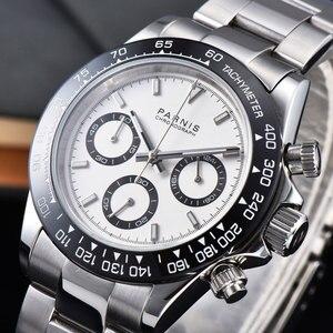 39mm PARNIS biała tarcza szafirowy kryształ solidny pełny chronograf męski zegarek kwarcowy
