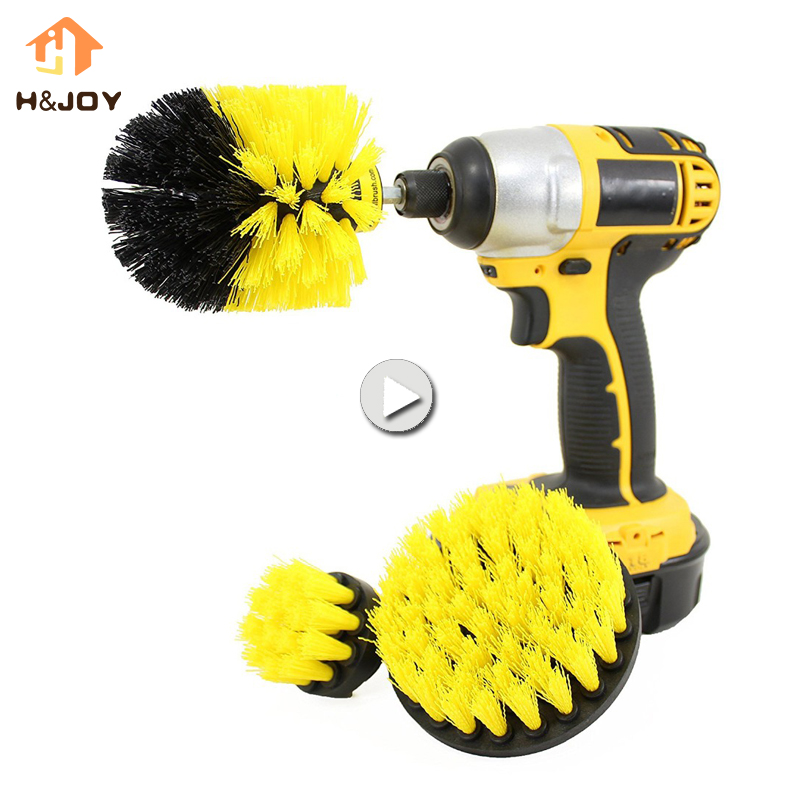 3 pcs Power Scrub Drill Brush Clean Brush Bathroom Surfaces Tub Shower Tile and Grout All Purpose Power Scrubber Cleaning Kit