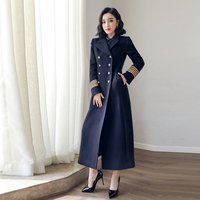 Double breasted Woolen coat female Military style winter thickening women's wool warm was thin long cashmere warm woolen coats