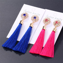 HOCOLE Bohemia Crystal Tassel Earrings For Women 2018 New Flower Charm Red Blue Black Silk Fabric Drop Earrings Wedding Jewelry 2018 summer new india golden jhumki earrings bohemia blue tassel earrings hippy charm fake beach travel jewelry