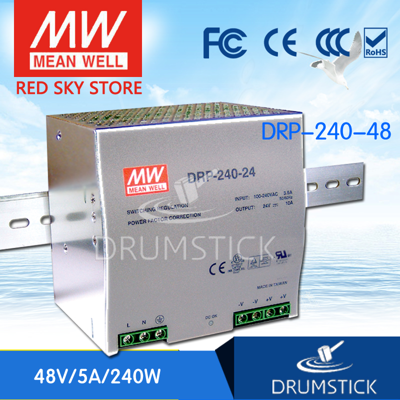 цена на Selling Hot MEAN WELL DRP-240-48 48V 5A meanwell DRP-240 48V 240W Single Output Industrial DIN Rail Power Supply