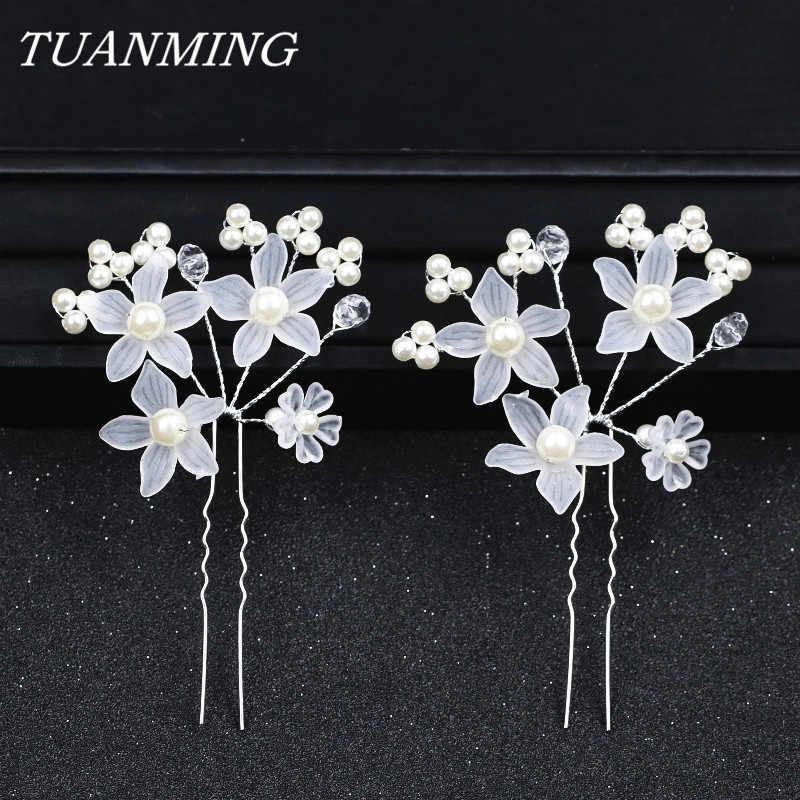 cd0278c5a39e Plastic Flower Hair Sticks Pearl Bride Hair Pins Wedding Hair Accessories  Kanzashi Women s Decorations Hairpins