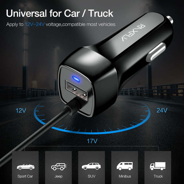 RAXFLY USB Car Charger For iPhone X 6 7 8 XS Max Phone Car-charger Micro USB Type c Lighting For Samsung S9 S8 Plus Quick Charge