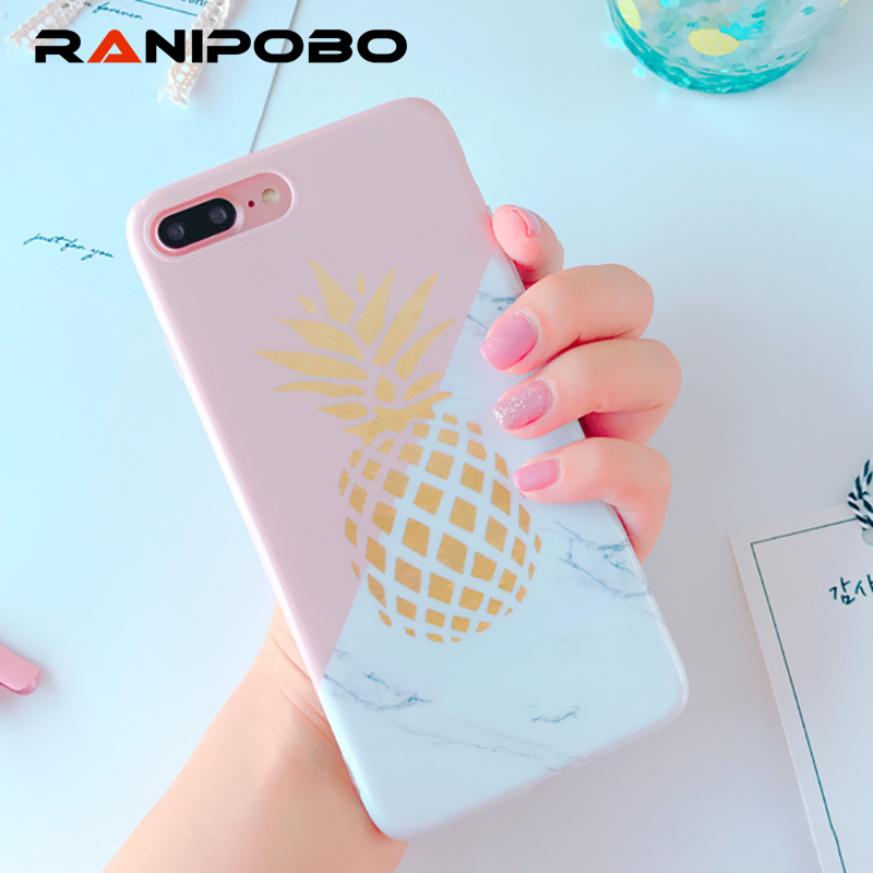 info for 4330f 08429 US $1.67 15% OFF|Fashion Marble Texture Geometric Splice Gold pineapple  Phone Case For iphone 7 7 Plus 6 6S Plus Soft IMD Back Cover Capa-in Fitted  ...