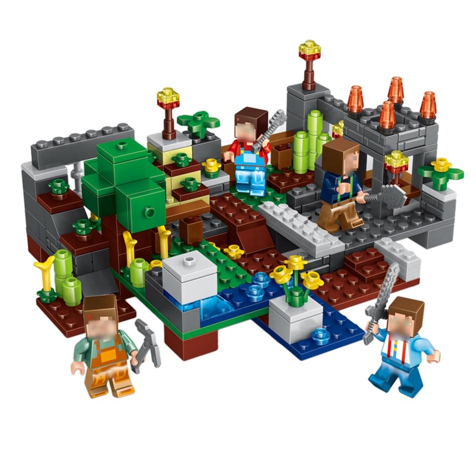 267pcs 4 in 1 Town group My World Compatible Legoed Minecraft Building Block Steve Alex Skeleton