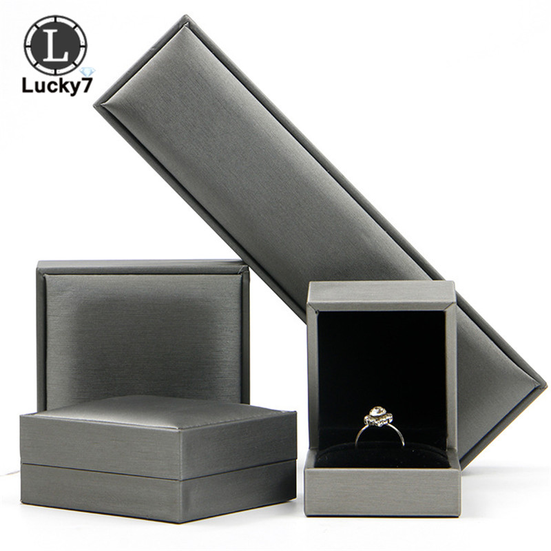 High-grade Gray Brushed Leather Jewelry Box Ring Bracelet Necklace Box Long Chain Box Jewelry Storage Case Storage Bag