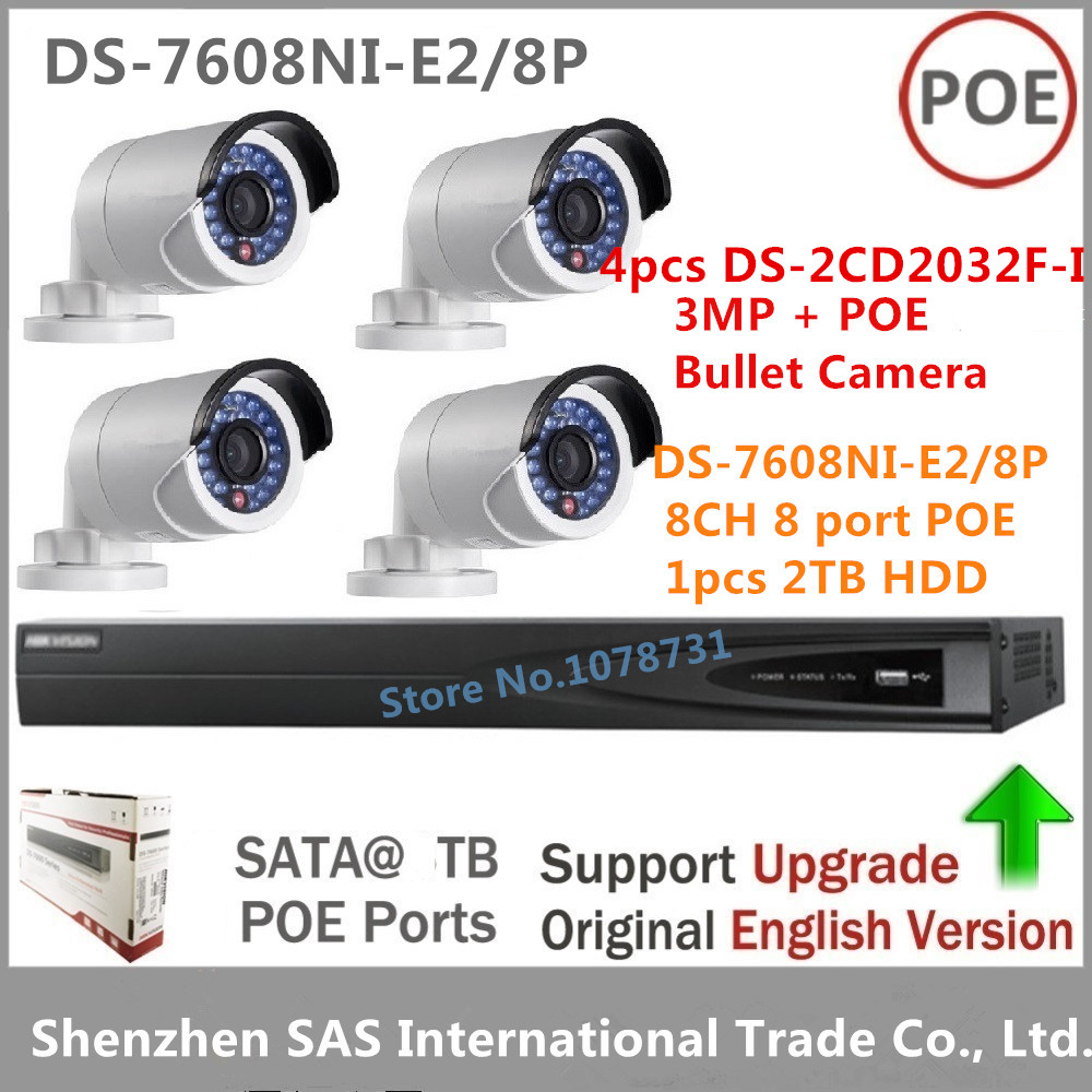 4pcs Hikvision DS-2CD2032F-I 3MP Bullet IP Camera replace DS-2cd2032-I + Hikvision NVR DS-7608NI-E2/8P With 2TB HDD