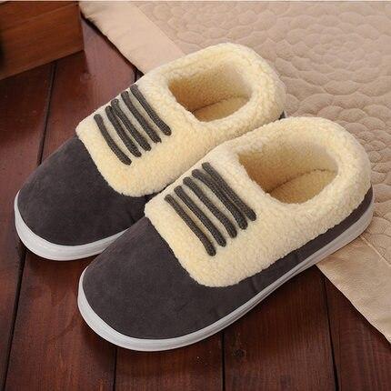 FAYUEKEY/зимние теплые домашние тапочки с хлопковой подкладкой; домашние теплые тапочки для влюбленных; обувь на плоской подошве; - Цвет: grey