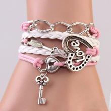 FAMSHIN New Handmade Bracelet Lock key Cupid's Arrow Charms Infinity Bracelet White Pink Leather Bracelet Women Best Couple Gift(China)