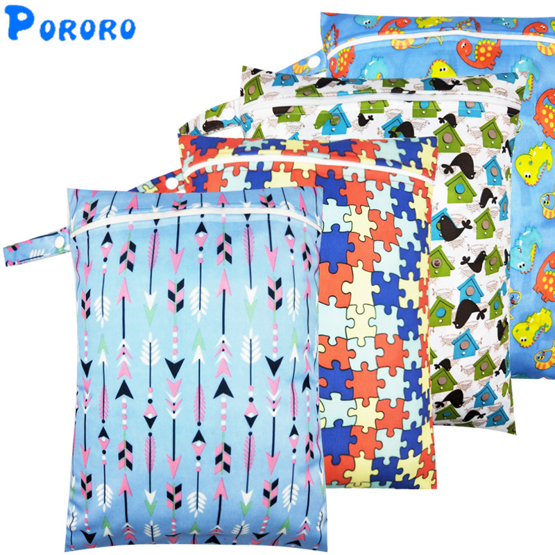 Print Wet Bag Waterproof Baby Cloth Diaper Bag PUL Wholesale Pocket Zipper Reusable Baby Nappy Diaper Rubbish Wet Bag 30x40cm