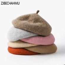 цена на Fashion Wool Beret Female Winter Hats For Women Flat Cap Knit 100% Cashmere Hats Lady Girl Berets Hat Female Bone Tocas Painter