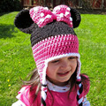 Lovely Minnie Design Baby Crochet Winter Hat Knitted Earflap Beanie for Girls Toddler Kids Winter Beanie Cartoon Hat MZS-14141