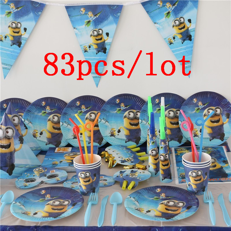 Party Supplies 83Pcs lot Minions Children Birthday Party Baby Shower Paper Cup Plate Napkin Hanging Banners Tablecover Provide in Disposable Party Tableware from Home Garden