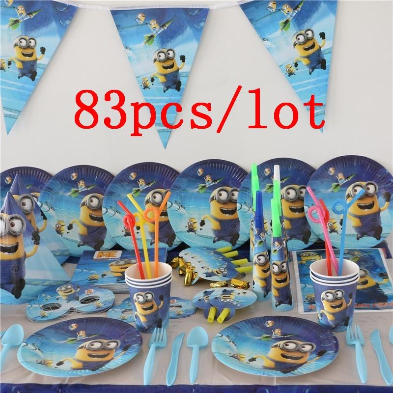 Вечерние принадлежности 83 шт./лот, Детские Миньоны, вечерние бумажные чашки для детского душа, тарелки, салфетки, подвесные баннеры